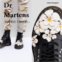 Dr Martens Flower Patterns Round Toe Lace-up Casual Style Plain Leather