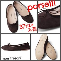 PORSELLI Suede Plain Leather Handmade Ballet Shoes