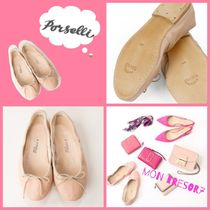 PORSELLI Round Toe Casual Style Leather Handmade Ballet Shoes