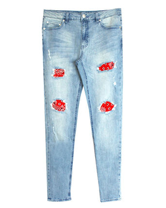 Tapered Pants Paisley Street Style Cotton Jeans & Denim