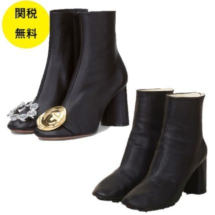 Leather With Jewels Elegant Style Boots Boots