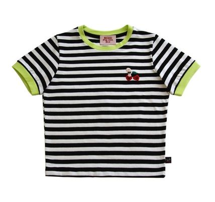 Crew Neck Short Stripes Collaboration Cotton Short Sleeves