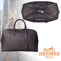 HERMES Victoria Casual Style Blended Fabrics Street Style Plain Leather