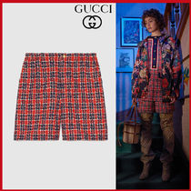 GUCCI Short Other Check Patterns Casual Style