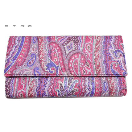 Paisley Leather Long Wallets