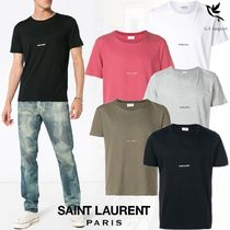 Saint Laurent Crew Neck Unisex Street Style Plain Cotton Short Sleeves