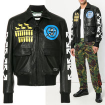 Off-White Short Leather Biker Jackets