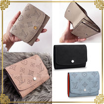 Louis Vuitton MAHINA Plain Leather Folding Wallets