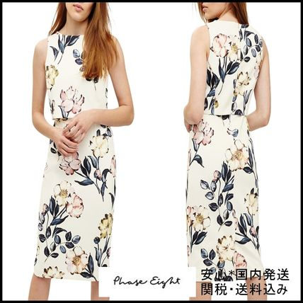 Flower Patterns Tight Sleeveless Plain Medium Elegant Style