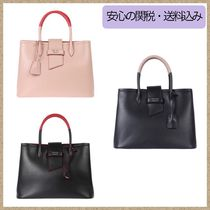 PRADA DOUBLE Calfskin 2WAY Plain Elegant Style Handbags