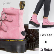 LAZY OAF Round Toe Casual Style Suede Collaboration Flat Boots