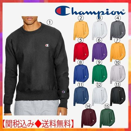 73083fe11d2f ... CHAMPION Sweatshirts Crew Neck Pullovers Unisex Street Style Long  Sleeves Plain ...