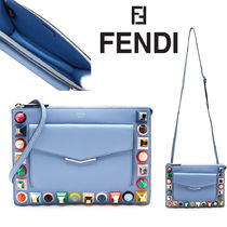 FENDI Casual Style Plain Leather Shoulder Bags