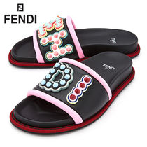FENDI Open Toe Rubber Sole Casual Style Leather Shower Shoes