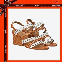 HERMES Open Toe Casual Style Chain Leather Block Heels