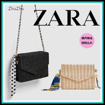 ZARA Casual Style Blended Fabrics Chain Plain Straw Bags