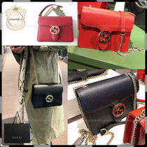 GUCCI Plain Leather Elegant Style Shoulder Bags