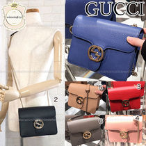 GUCCI Plain Leather Elegant Style Crossbody Shoulder Bags