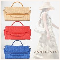 ZANELLATO Casual Style 2WAY Plain Leather Straw Bags
