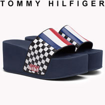 Tommy Hilfiger Gingham Open Toe Platform Casual Style Street Style
