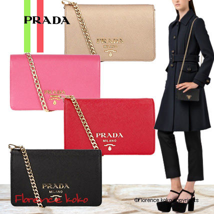 Saffiano 2WAY Chain Plain Party Style Shoulder Bags