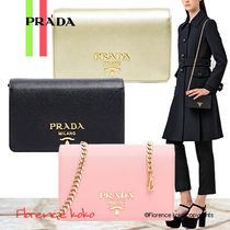 PRADA SAFFIANO LUX Saffiano 2WAY Chain Plain Party Style Shoulder Bags