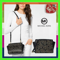 Michael Kors SELMA Casual Style Studded Leather Shoulder Bags
