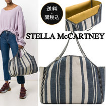 Stella McCartney FALABELLA Stripes Casual Style Cambus A4 Chain Totes