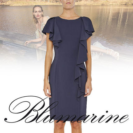 A-line Nylon Plain Medium Short Sleeves Fringes Dresses