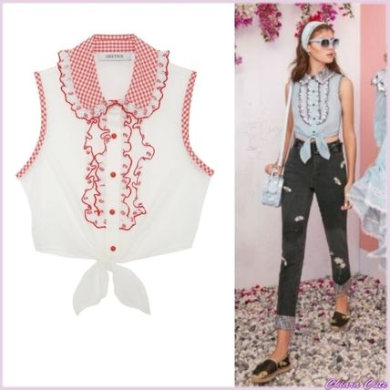 Short Gingham Casual Style Sleeveless Bi-color Cotton