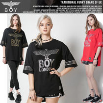 BOY LONDON Studded U-Neck Cotton Long Short Sleeves