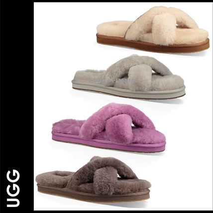 Open Toe Casual Style Suede Plain Slippers Sandals