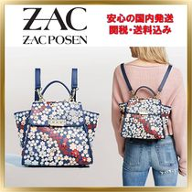 ZAC ZAC POSEN Flower Patterns Casual Style 2WAY Leather Backpacks