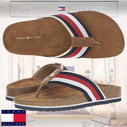 c71eac703385 ... Tommy Hilfiger Flat Open Toe Casual Style Plain Footbed Sandals Flat  Sandals ...