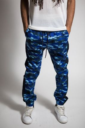 Stripes Camouflage Street Style Cotton Joggers & Sweatpants