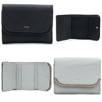 Chloe Plain Leather Folding Wallets