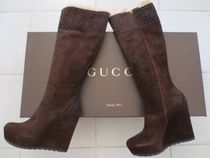 GUCCI Suede Wedge Boots