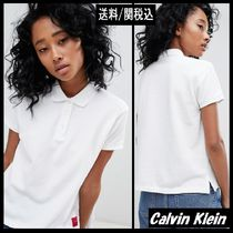 Calvin Klein Casual Style Plain Cotton Short Sleeves Polo Shirts