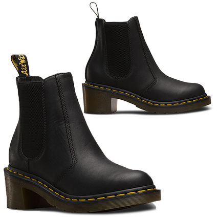da1085884319f ... Dr Martens Ankle   Booties Casual Style Unisex Street Style Plain  Leather Block Heels ...
