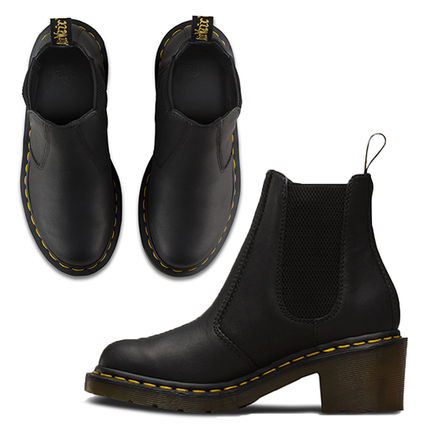 Dr Martens Ankle & Booties Casual Style Unisex Street Style Plain Leather Block Heels 4