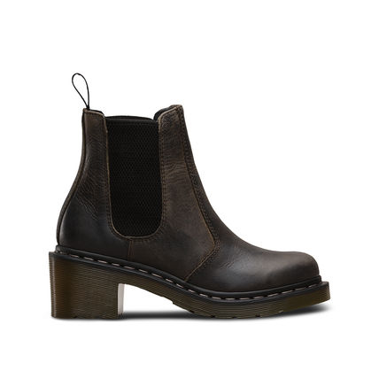 Dr Martens Ankle & Booties Casual Style Unisex Street Style Plain Leather Block Heels 6