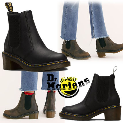 Dr Martens Ankle & Booties Casual Style Unisex Street Style Plain Leather Block Heels