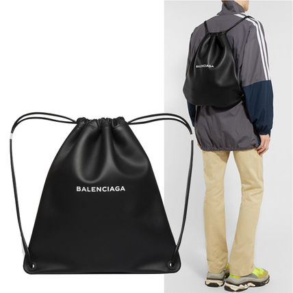 Unisex Calfskin Plain Backpacks