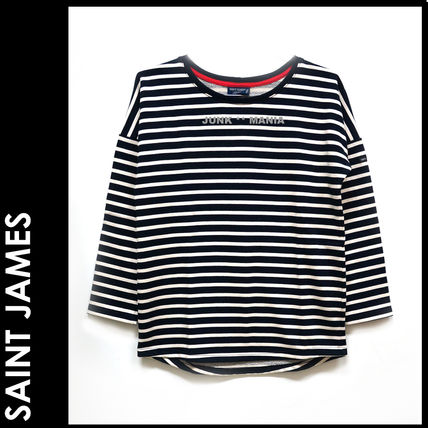 Crew Neck Stripes Long Sleeves Cotton T-Shirts