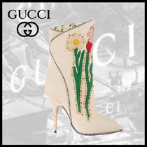 GUCCI Flower Patterns Leather Mid Heel Boots