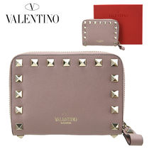 VALENTINO Plain Leather Coin Purses