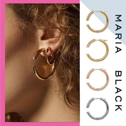 Maria Black Earrings Piercings Casual Style Uni Silver