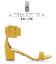 Aquazzura Open Toe Suede Plain Chunky Heels Peep Toe Pumps & Mules