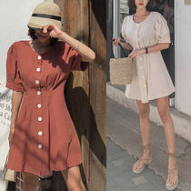 Short Casual Style Puffed Sleeves Plain Dresses