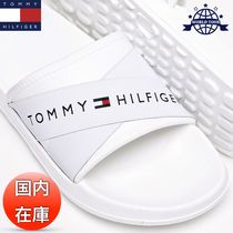 Tommy Hilfiger Open Toe Casual Style Unisex Plain Shower Shoes Flat Sandals